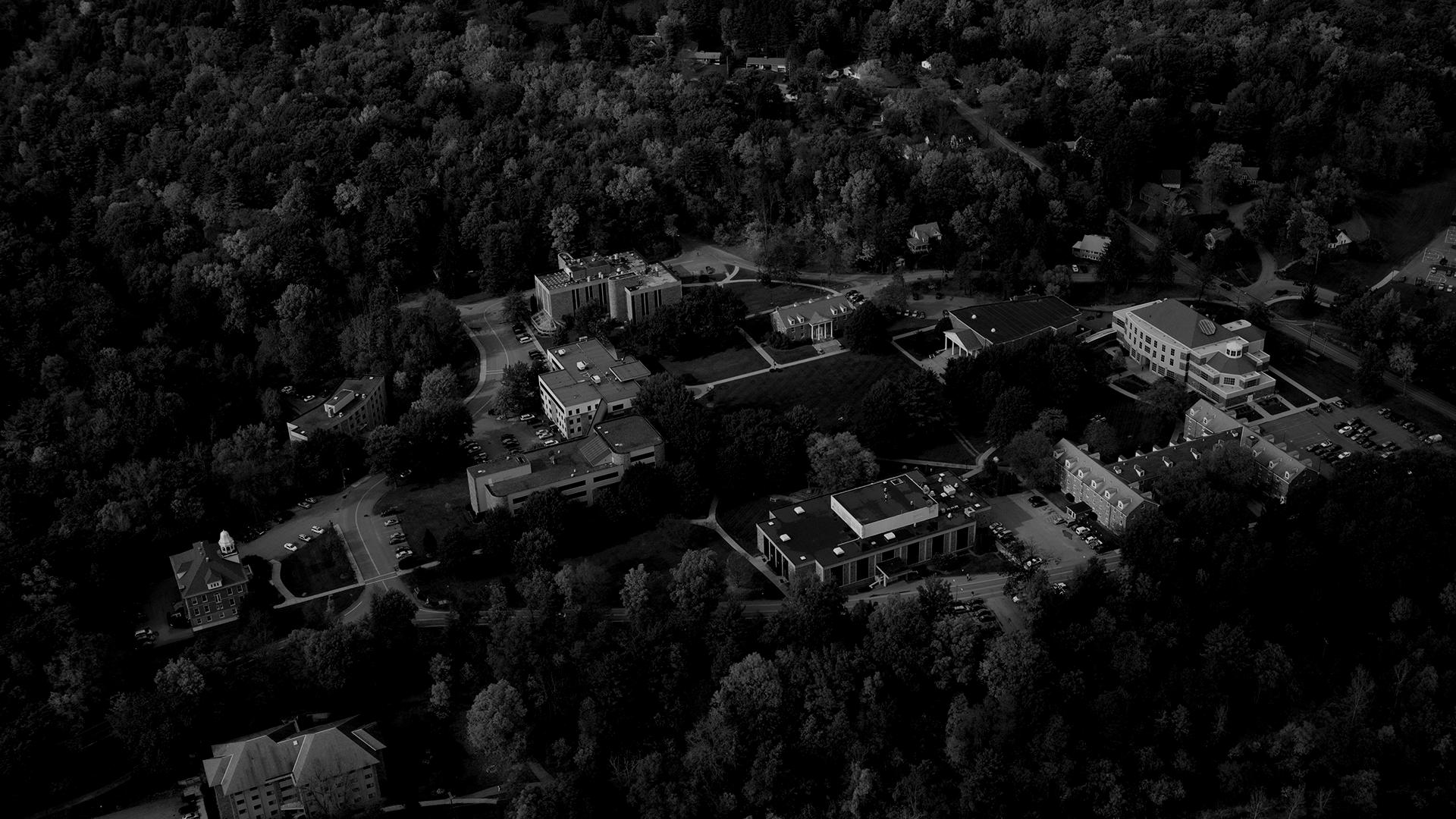 Aerial photo of Houghton campus in the fall