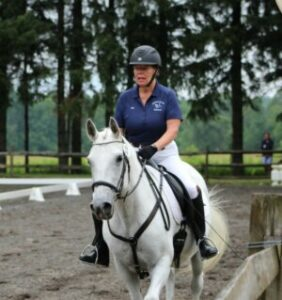 Carmella the horse walking in an outdoor arena