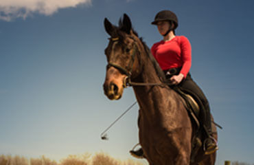 Equestrian student on horse